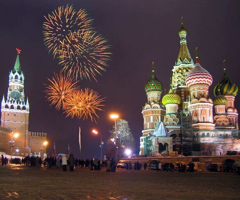 Kreml und Basilius-Kathedrale zu Silvester