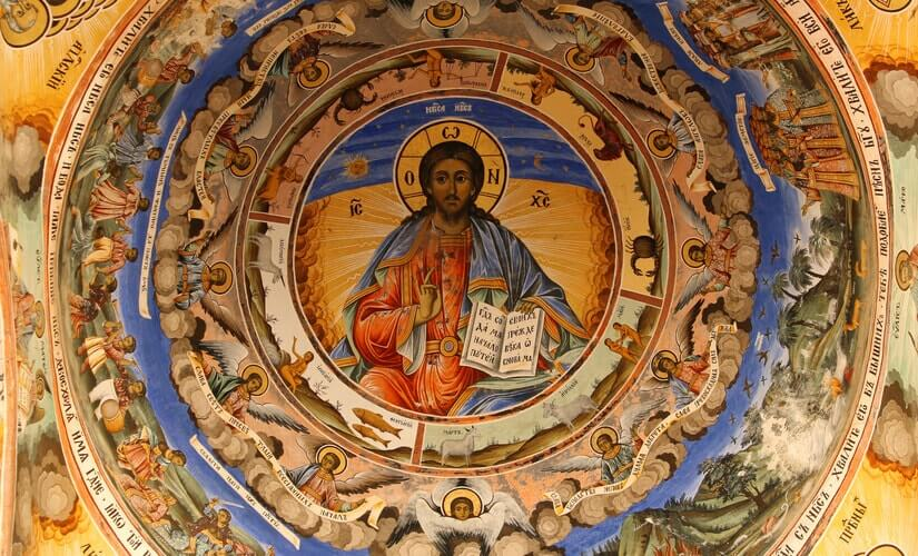 Ein Deckengemälde von Jesus