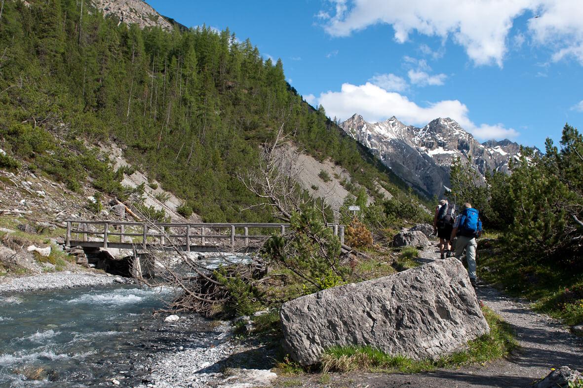 Wanderer im Schweizerischer Nationalpark