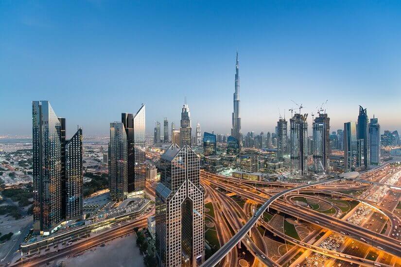 Blick auf die Wolkenkratzer von Dubai