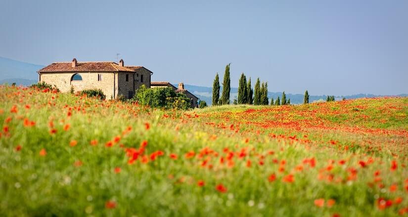 Haus mit Landschaft in der Toskana