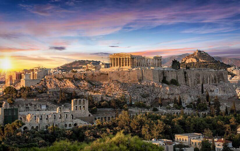 Bild Akropolis in Athen bei Sonnenuntergang