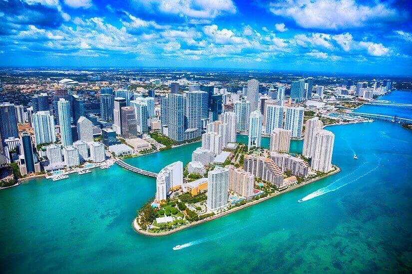 Miami und Miami Beach aus der Vogelperspektive