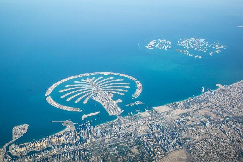 Blick auf die künstliche Insel Palm Jumeirahm, Dubai