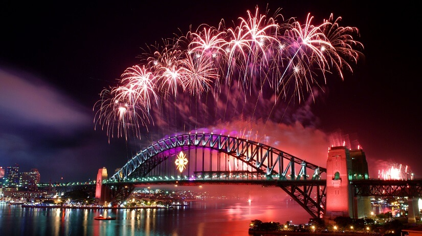 Silvester an der Harbour Bridge in Sydney