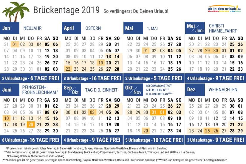 Bild Brückentage 2019 Kalenderübersicht