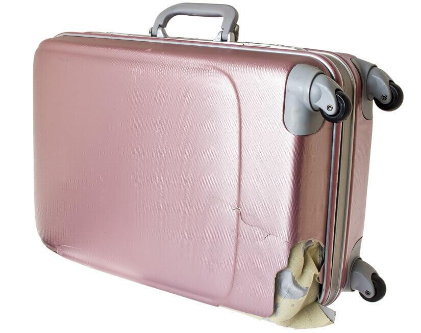 beschädigter Koffer