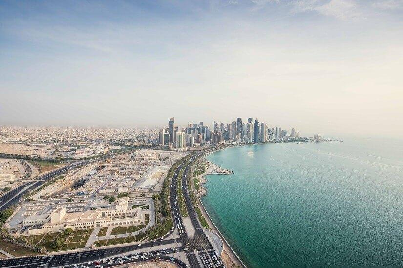 Die Corniche von Doha in Katar