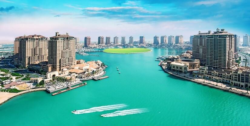 Die künstliche Insel The Pearl in Doha