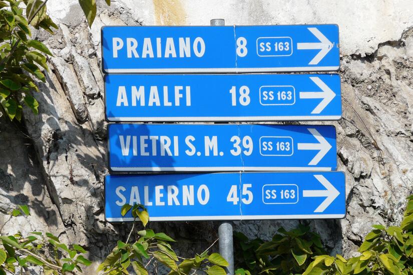 Wegweiser Amalfiküste
