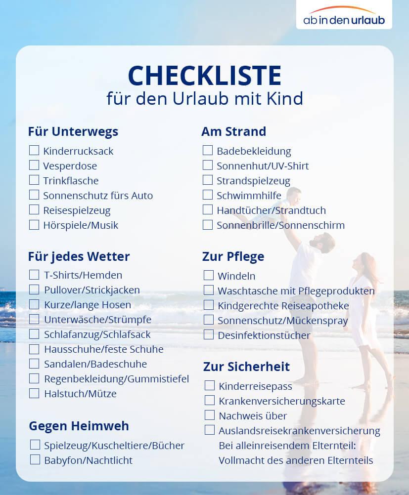 Urlaub mit Baby & Kind Checkliste