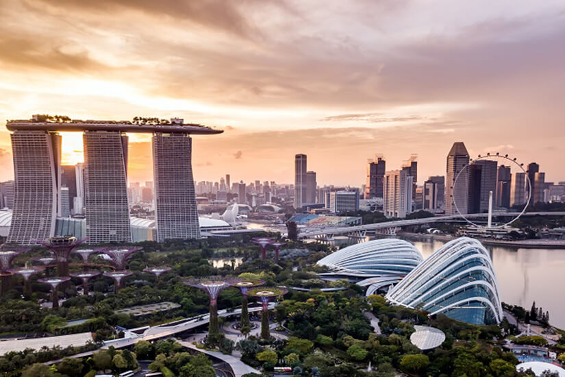 Die Gardens by the Bay mit den Supertrees in Singapur