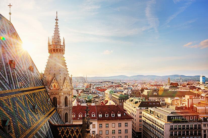 Blick vom nördlichen Turm des Stephandoms in Wien
