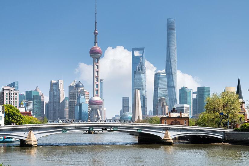 Blick auf die Skyline und Shanghai Tower