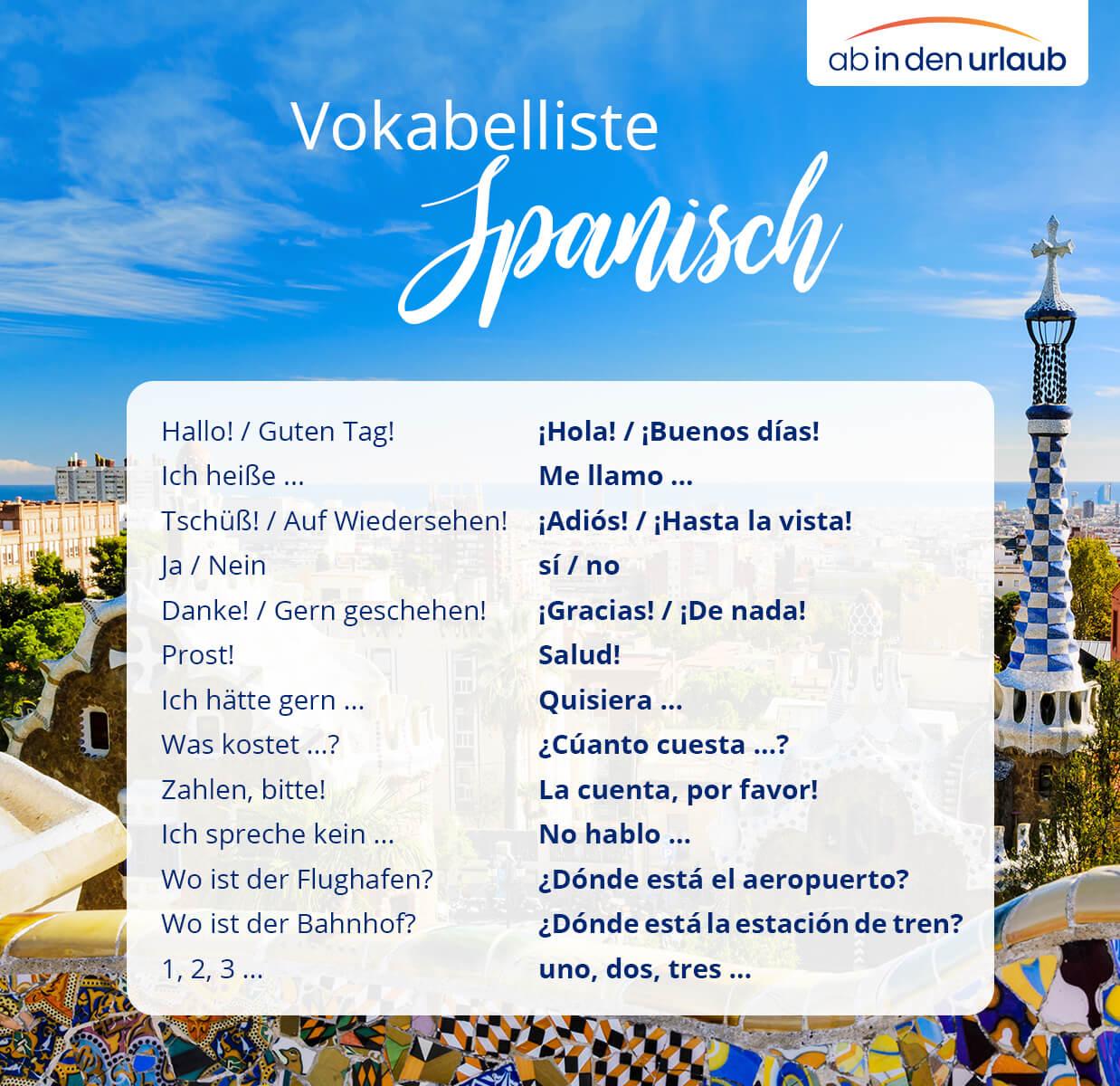 Vokabelliste Spanisch für den Urlaub