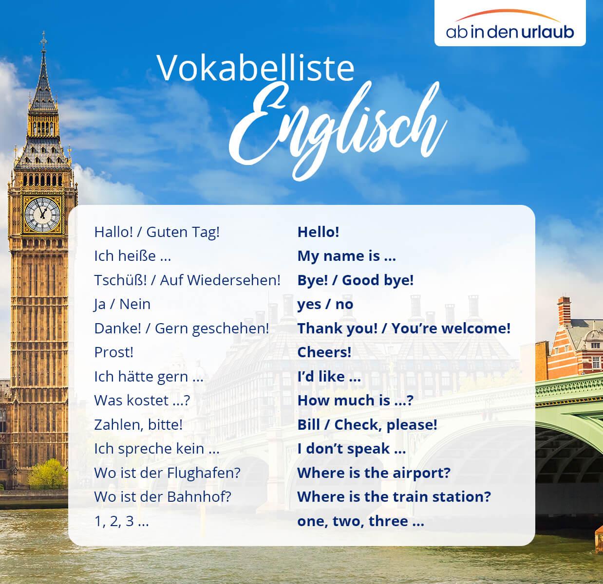 Vokabelliste Englisch für den Urlaub