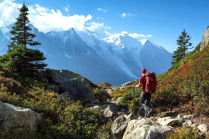 Wandern im Sommer am Mont Blanc