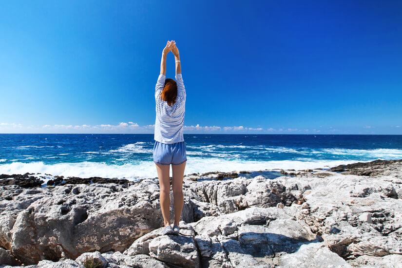 Yoga auf Zakynthos mit Blick auf das Ionische Meer