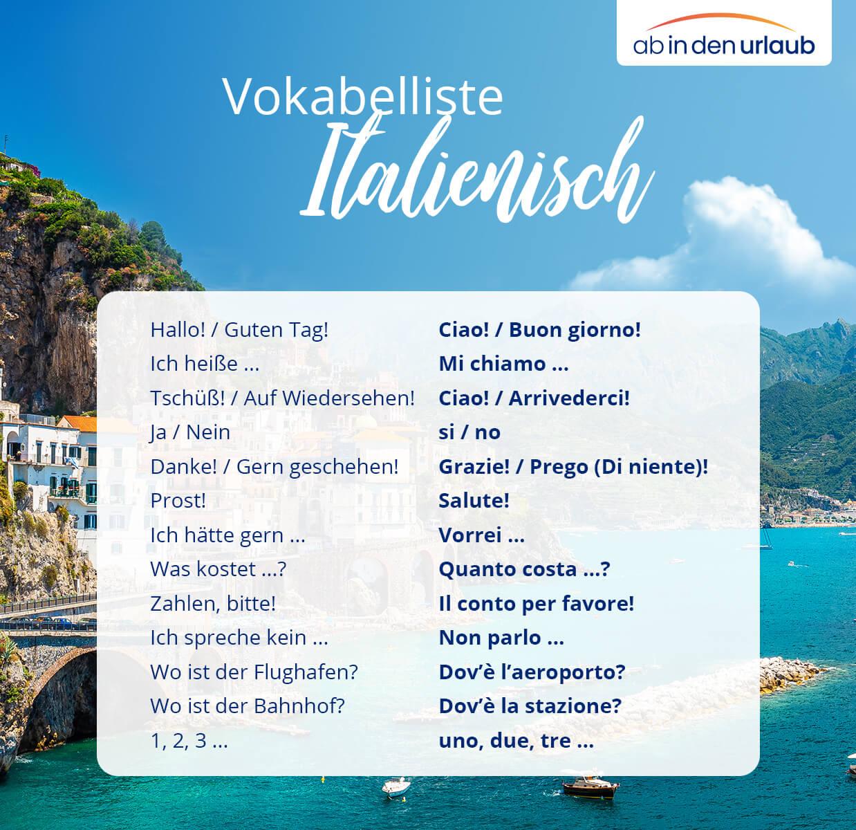Vokalbelliste Italienisch für den Urlaub