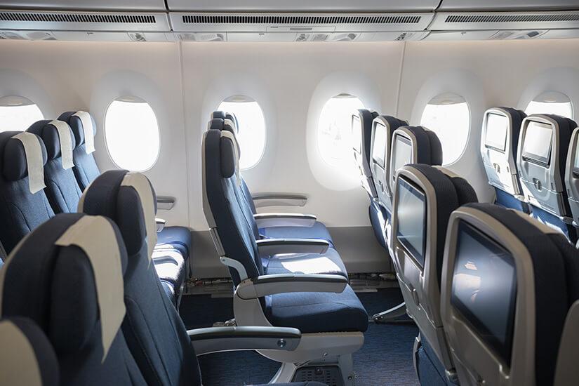 Gängiger Abstand zwischen Sitzreihen