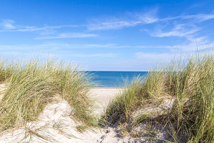 Blick durch Dünen zur Ostee