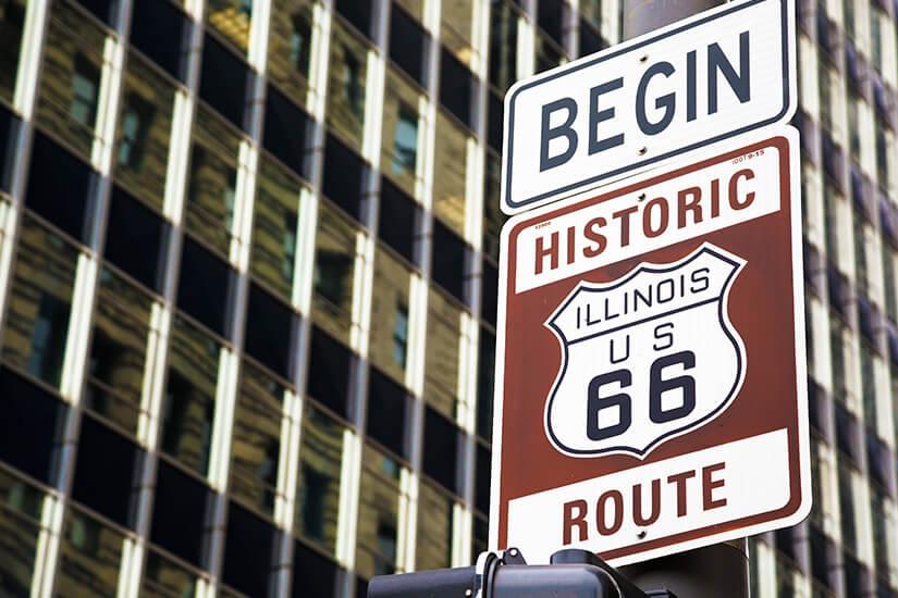 Historischer Beginn der Route 66 in Chicago