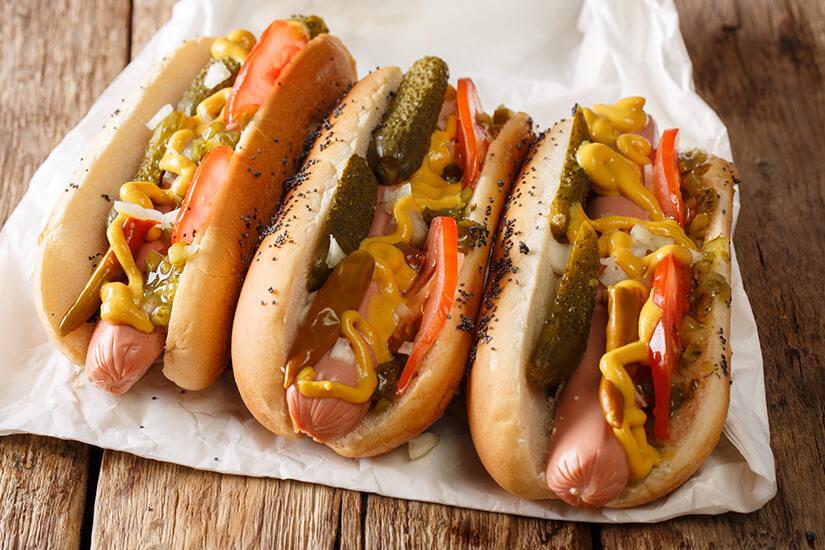 Typisch amerikanische Hot Dogs