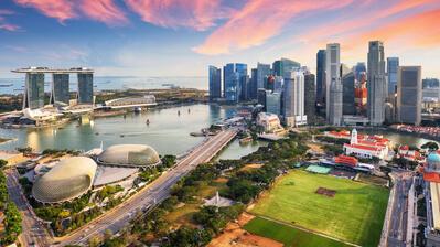 Singapur in der Dämmerung
