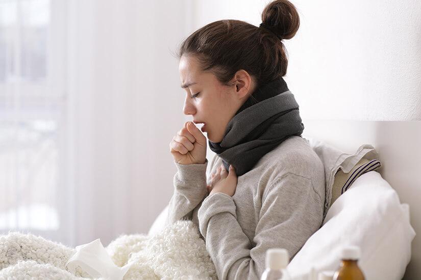 Mit Influenza im Bett