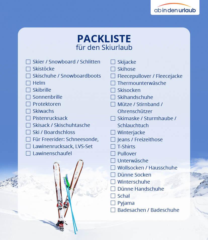 Packliste für den Skiurlaub