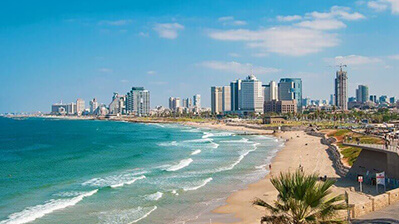 Tel Aviv Strand und Skyline