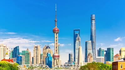 Silhouette von Pudong in Shanghai
