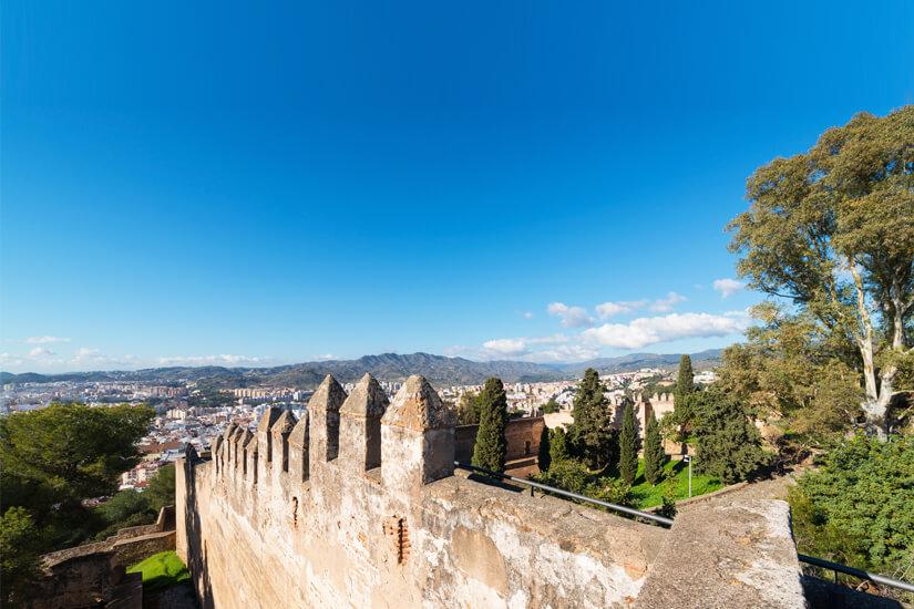 Mauer des Castillo de Gibralfaro