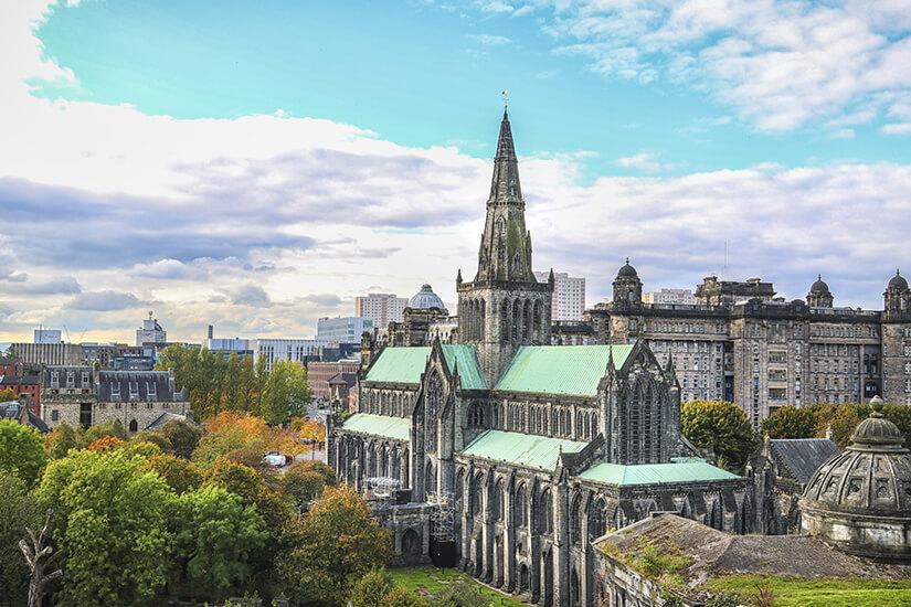 Blick über die Kathedrale von Glasgow
