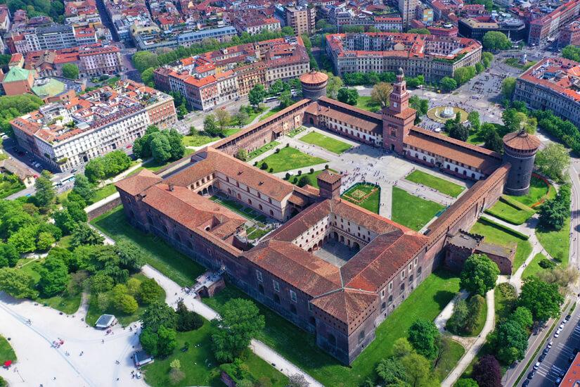 Luftaufnahme des Castello Sforzesco