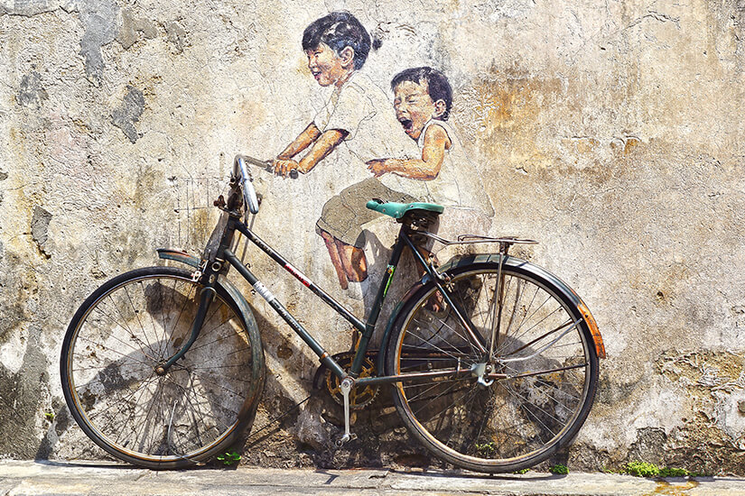 Street Art Little Children on a Bicycle