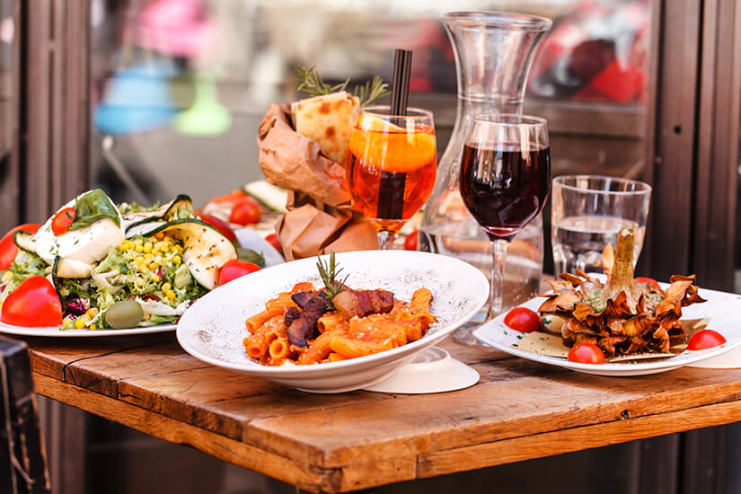 Italienisches Essen wird meist in mehreren Gaengen serviert