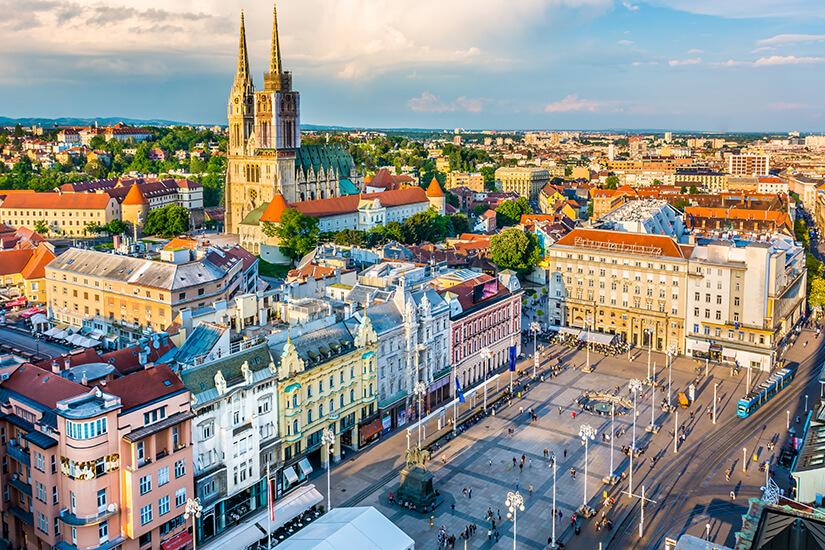 Stadtansicht von Zagreb aus der Luft