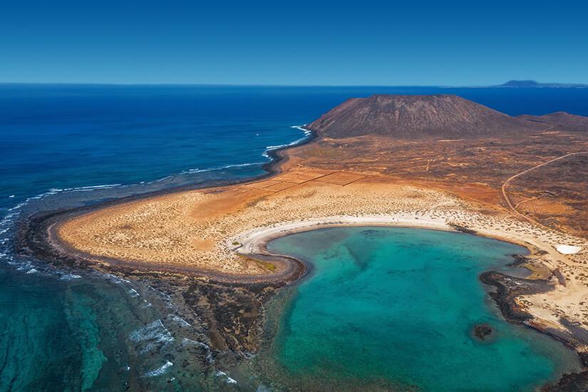 Isla de Lobos mit der Playa de las Conchas