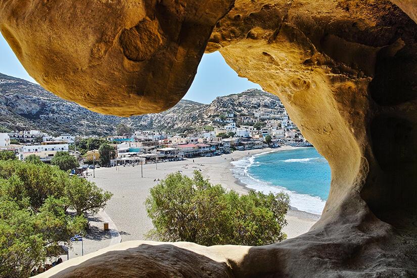 Hoehlen von Matala auf Kreta