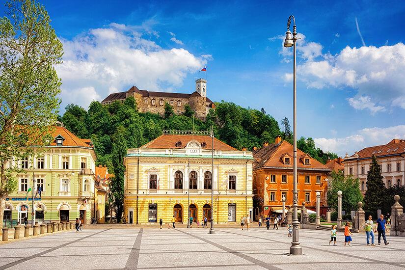 Blick auf die Burg von Ljubljana