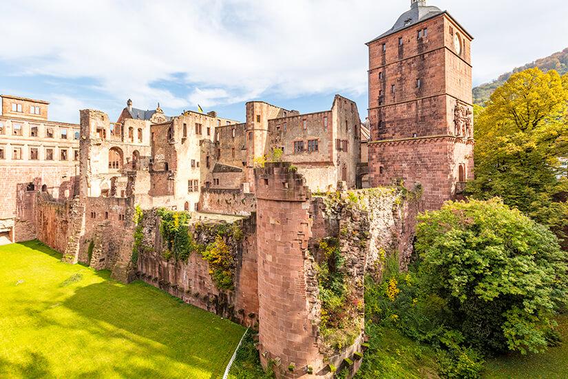 Das Heidelberger Schloss im Sonnenschein