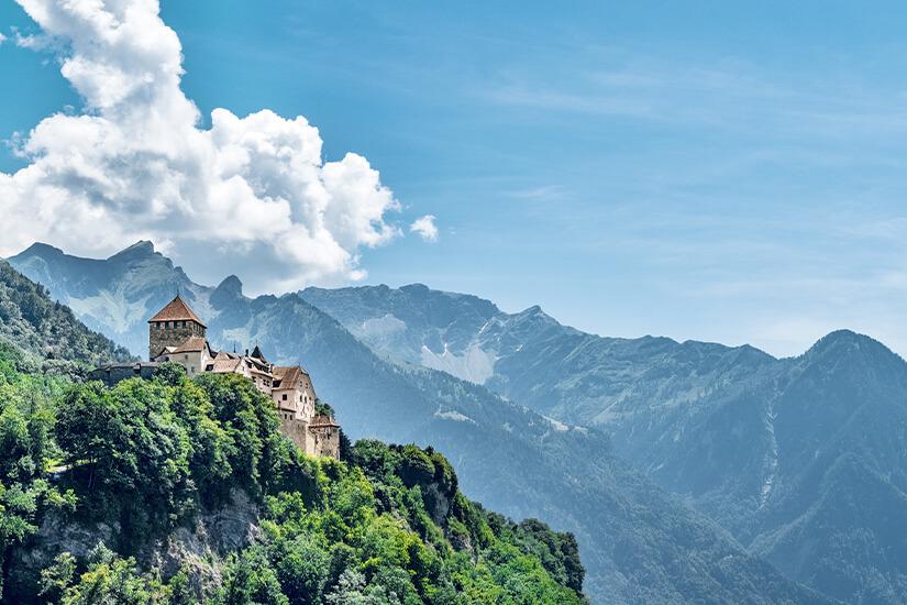 Blick auf das Schloss von Vaduz in Liechtenstein
