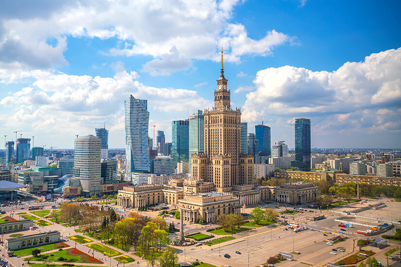 Warschau mit Blick auf den Kulturpalast