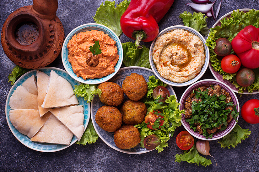 Auswahl an arabischen Koestlichkeiten