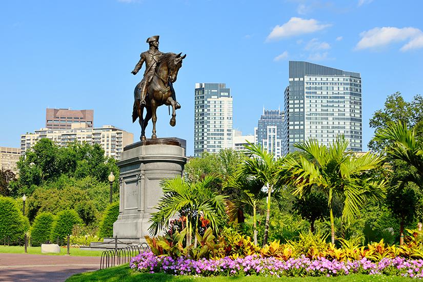 Statue von George Washington im Bostoner Common Park