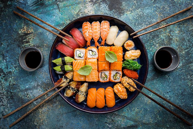 Variation von Sushi