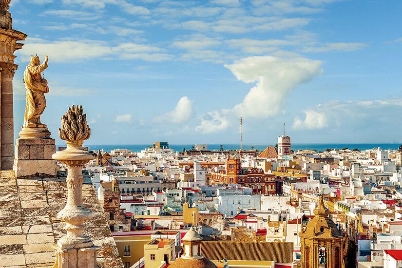 Stadtansicht von Cadiz und das Meer