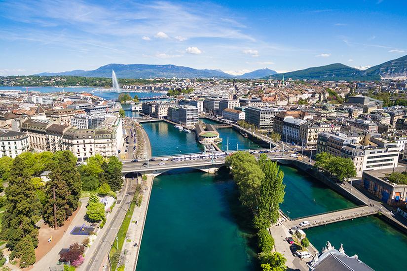 Blick auf Genf und den Genfer See