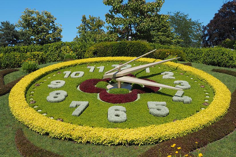Blumenuhr im Englischen Garten von Genf